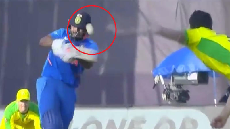 Rishabh Pant suffered suspected concussion after he was caught out when he hit the ball into his helmet. (Image: Fox Sports)