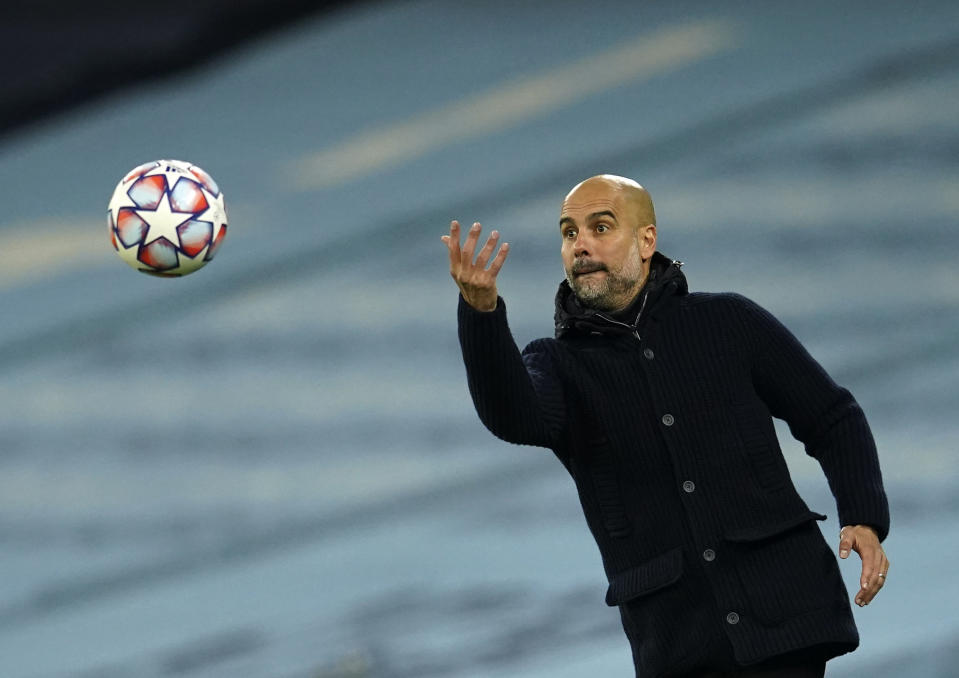 Pep Guardiola and Manchester City haven't had great luck in the Champions League in recent years, but they're a good bet to win their group this term. (AP Photo/Dave Thompson, FILE)