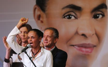 Presidential candidate Marina Silva of the Brazilian Socialist Party (PSB) speaks during a ceremony to launch her campaign platform in Sao Paulo August 29, 2014. REUTERS/Paulo Whitaker