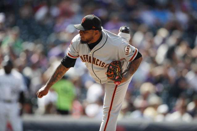 San Francisco Giants relief pitcher Reyes Moronta works against the Colorado Rockies during the seventh inning of a baseball game Wednesday, July 17, 2019, in Denver. (AP Photo/David Zalubowski)