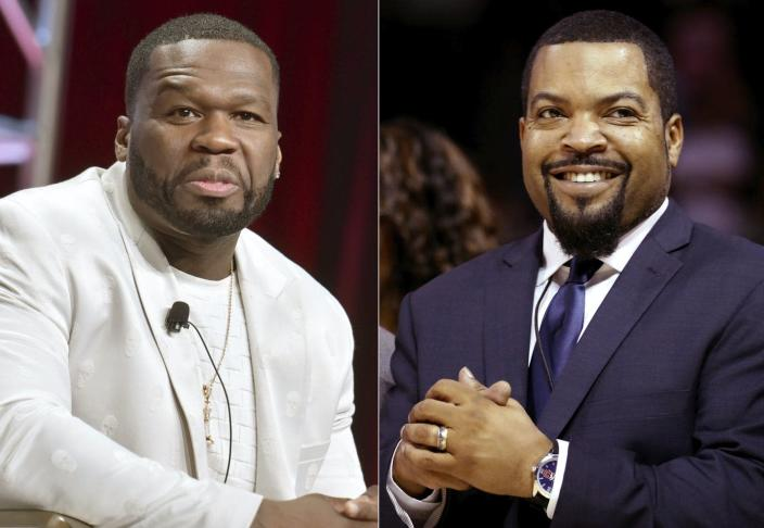 """<span class=""""caption"""">Neither 50 Cent, left, nor Ice Cube, right, herald a previously undetected Black male movement to reelect President Donald Trump. </span> <span class=""""attribution""""><a class=""""link rapid-noclick-resp"""" href=""""https://newsroom.ap.org/detail/Rappers-Photo-Misinformation/81e131d935a94eb8b2511404169cbee9/photo?Query=50%20Cent%20Trump&mediaType=photo&sortBy=arrivaldatetime:desc&dateRange=Anytime&totalCount=7&currentItemNo=1"""" rel=""""nofollow noopener"""" target=""""_blank"""" data-ylk=""""slk:AP Photo"""">AP Photo</a></span>"""