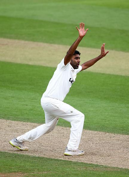 LONDON, ENGLAND - JULY 11: Ravichandran Ashwin of Surrey appeals unsuccessfully during day one of the LV= Insurance County Championship match between Surrey and Somerset at The Kia Oval on July 11, 2021 in London, England. (Photo by Jordan Mansfield/Getty Images For Surrey CCC)