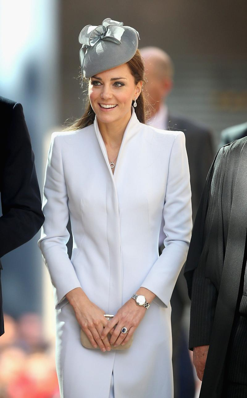 Kate donned an Alexander McQueen coat for the Easter Sunday services at St. Andrews Cathedral in April 2014.