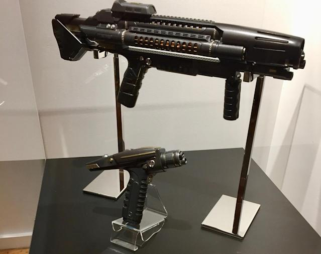 <p>Observant fans will note the rifle's orange foil chamber is a nod to the weaponry in <em>The Original Series</em>. The iconic hand phaser has been tweaked to appear more rugged than the original TV model, suggesting a more militaristic functionality. (Photo: Marcus Errico/Yahoo TV) </p>