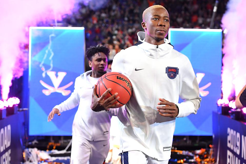 Mamadi Diakite #25 of the Virginia Cavaliers enters the stadium at the start of the semifinal game in the NCAA Men's Final Four at U.S. Bank Stadium on April 06, 2019 in Minneapolis, Minnesota. (Photo by Jamie Schwaberow/NCAA Photos via Getty Images)