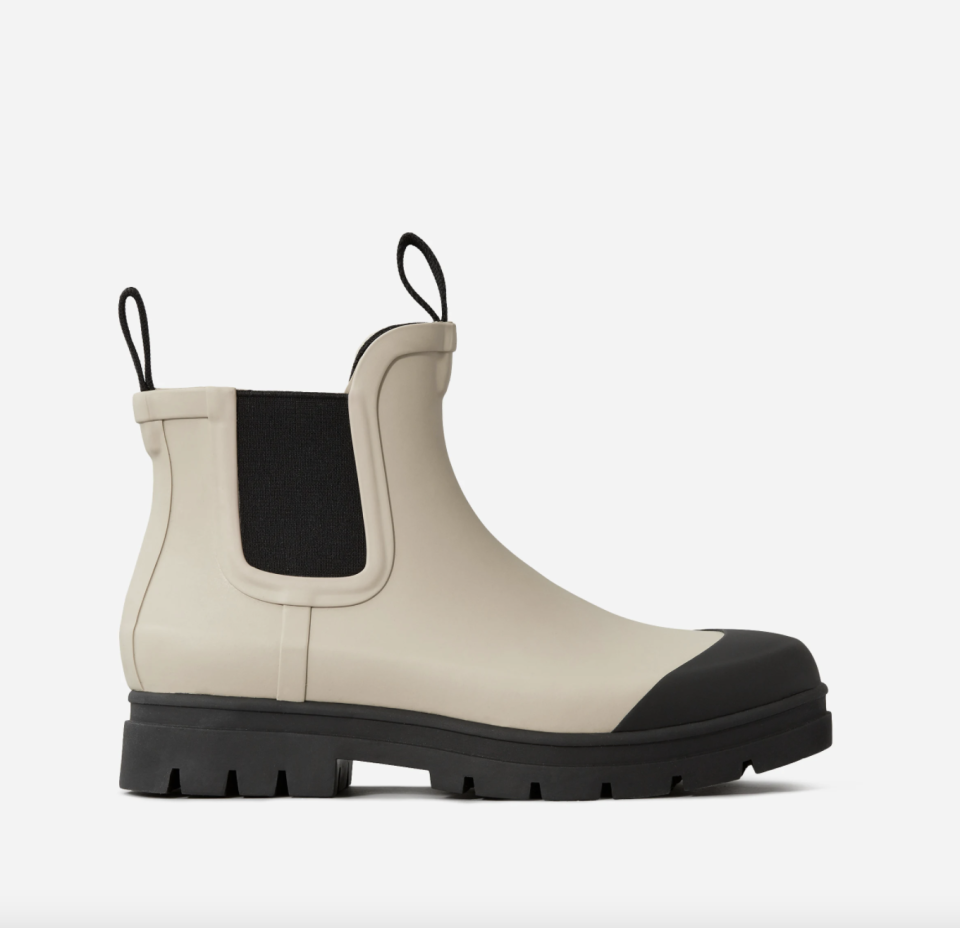 Everlane The Rain Boot in Stone with black bottom and black side