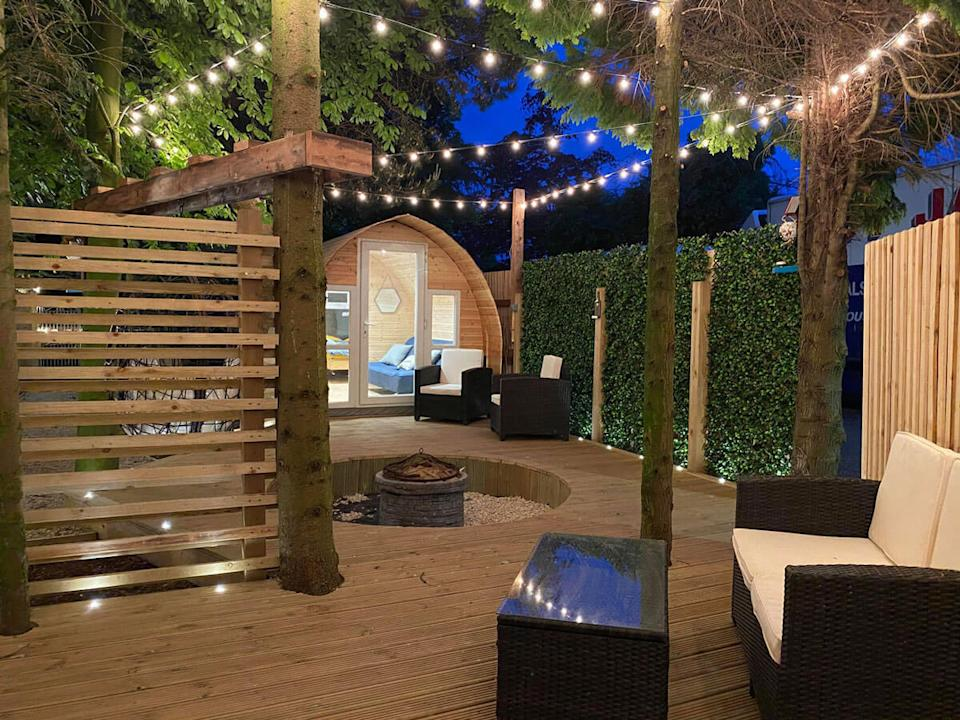 A 'Love Island'-inspired 'glamping pod', hand-built by one Brit in his own back garden, has been booked up until November. (Checkatrade)