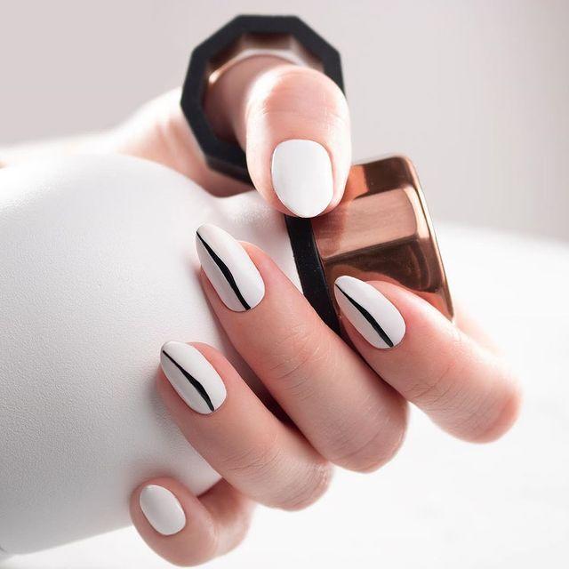 "<p>Who says winter whites can't work in the springtime? These simple nails are ultra-chic and modern. </p><p><a class=""link rapid-noclick-resp"" href=""https://www.amazon.com/Winstonia-Professional-Striping-Blending-Elongated/dp/B00GD0IQQ6?tag=syn-yahoo-20&ascsubtag=%5Bartid%7C10055.g.3186%5Bsrc%7Cyahoo-us"" rel=""nofollow noopener"" target=""_blank"" data-ylk=""slk:SHOP NAIL STRIPE BRUSH"">SHOP NAIL STRIPE BRUSH</a></p><p><a href=""https://www.instagram.com/p/CGQGu69Fiu7/&hidecaption=true"" rel=""nofollow noopener"" target=""_blank"" data-ylk=""slk:See the original post on Instagram"" class=""link rapid-noclick-resp"">See the original post on Instagram</a></p>"
