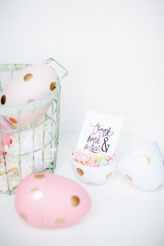 """<p>Instead of a traditional Easter basket, fill a gigantic plastic egg with Easter goodies — candy, trinkets, fake tattoos, and so on — this year. </p><p><a href=""""http://sugarandcloth.com/diy-jumbo-polka-dot-egg-favors/"""" rel=""""nofollow noopener"""" target=""""_blank"""" data-ylk=""""slk:Get the tutorial from Sugar & Cloth »"""" class=""""link rapid-noclick-resp""""><em>Get the tutorial from Sugar & Cloth »</em></a></p>"""