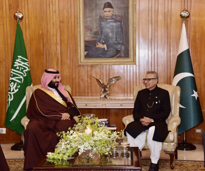 In this photo released by the Press Information Department, Pakistani President Arif Alvi, right, meets with visiting Saudi Arabia's Crown Prince Mohammed bin Salman at presidential palace in Islamabad, Pakistan, Monday, Feb. 18, 2019. A senior Saudi diplomat on Monday assailed Iran for initially blaming the kingdom for last week's attack that killed 27 members of Iran's elite Revolutionary Guard. (Press Information Department, via AP)