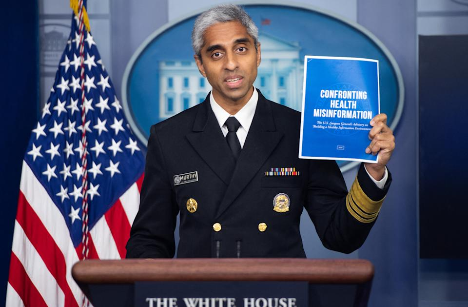 US Surgeon General Dr. Vivek H. Murthy speaks during a press briefing in the Brady Briefing Room of the White House in Washington, DC on July 15, 2021. (Saul Loeb/AFP via Getty Images)