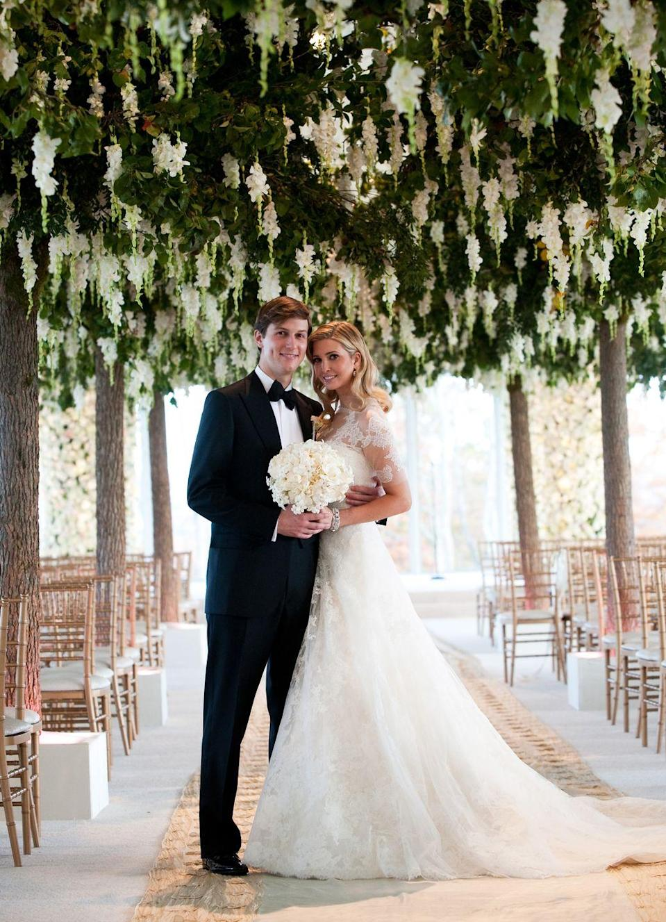 "<p>Put together in just three months, Ivanka Trump's $1 million 2009 wedding was at the Trump National Golf Club in Bedminster, NJ. The <a href=""https://www.brides.com/story/ivanka-trump-jared-kushner-wedding-photos"" rel=""nofollow noopener"" target=""_blank"" data-ylk=""slk:13-layered cake"" class=""link rapid-noclick-resp"">13-layered cake</a> guests ate at the reception is estimated to have cost $70,000 alone. </p>"