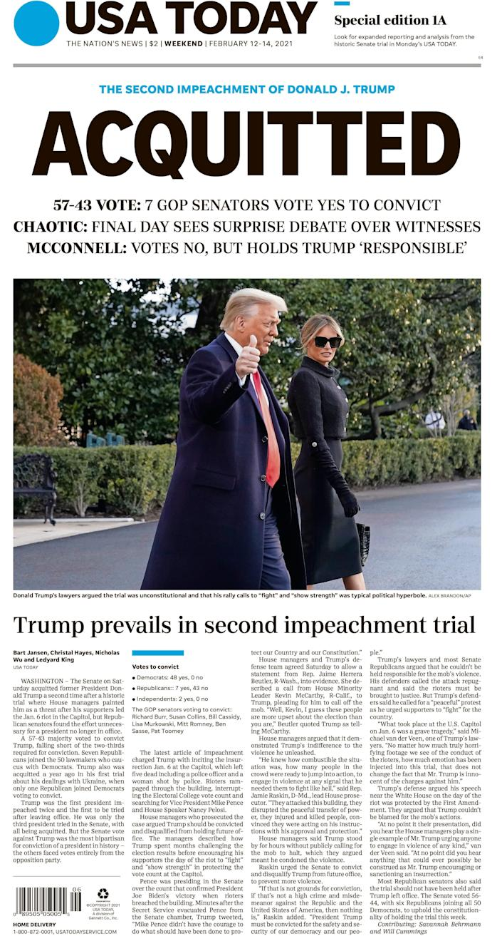History in print: The updated weekend front page of USA TODAY reflects the historic impeachment's verdict.