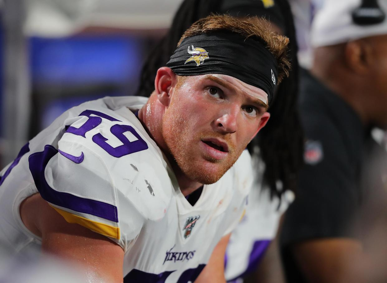 Cameron Smith #59 of the Minnesota Vikings watches from the bench during the second half of a preseason game against the Minnesota Vikings at New Era Field on August 29, 2019 in Orchard Park, New York.  Buffalo beats Minnesota 27 to 23.  (Photo by Timothy T Ludwig/Getty Images)