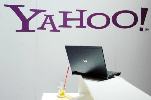The Yahoo logo is displayed at the trade fair for digital marketing OMD in Dusseldorf