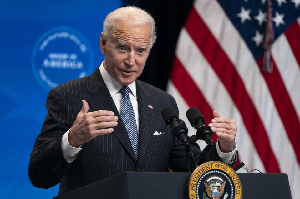 FILE - In this Jan. 25, 2021, file photo, President Joe Biden answers questions from reporters in the South Court Auditorium on the White House complex, in Washington. Biden is unlikely to confront China on trade right away because he wants to focus on the coronavirus and the economy, but he does look set to renew pressure over trade and technology grievances that prompted President Donald Trump to hike tariffs on Chinese imports in 2017. (AP Photo/Evan Vucci, File)