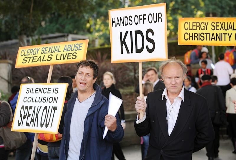 Activists protesting sexual abuse in the Catholic church in Sydney on July 18, 2008