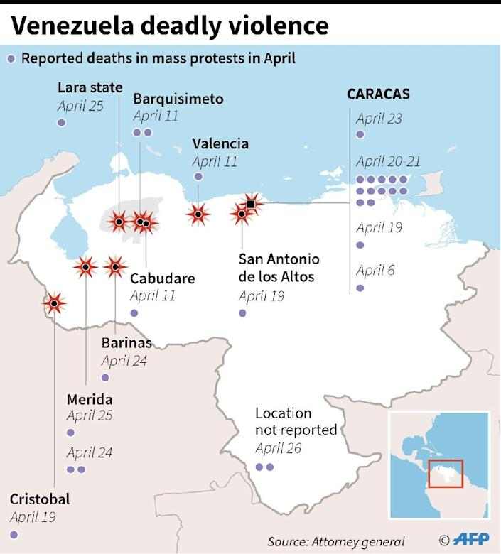 Map of Venezuela locating the deaths of 28 people in protests in April (AFP Photo/Gal ROMA)