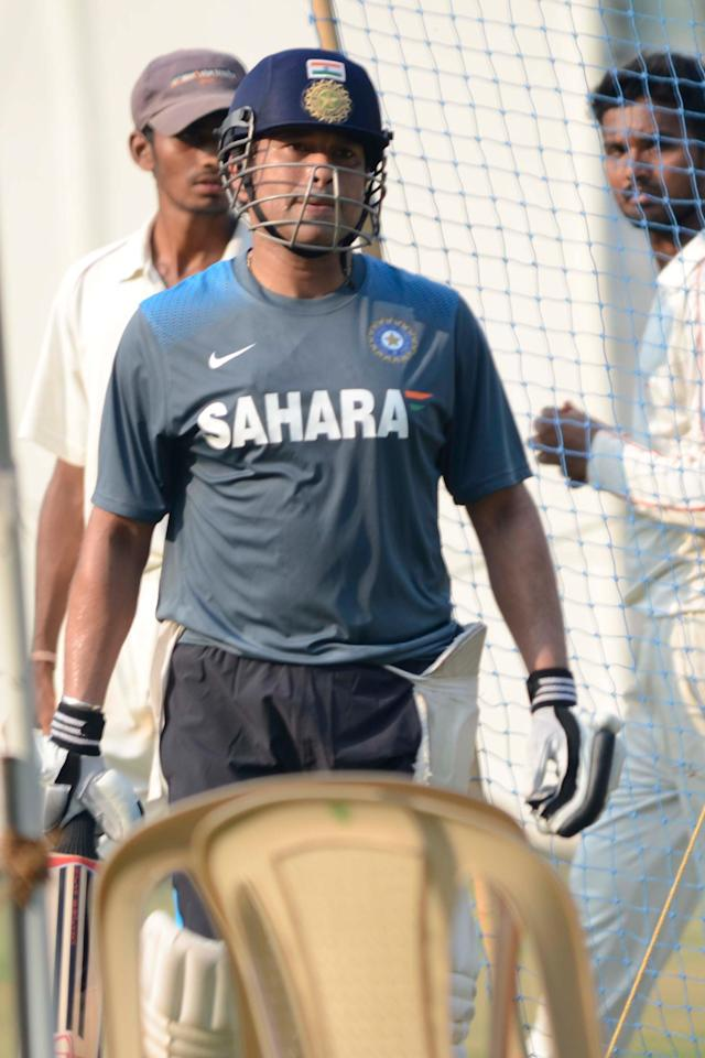 Indian cricketer Sachin Tendulkar during practice session ahead of his 200th and the last Test match at Wankhede stadium in Mumbai on Nov.12, 2013. (Photo: Sandeep Mahankaal/IANS)