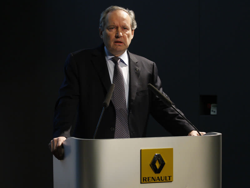 Jerome Stoll, French car maker Renault Executive Vice President, Sales and Marketing, and Light Commercial Vehicles, speaks during a news conference in Boulogne Billancourt