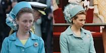 <p>The public began to take note of Princess Anne's style in the early '70s, including her investiture look. The young royal's blue coat dress, diamond broach, and pillbox hat were recreated for actress Erin Doherty in season 3. </p>