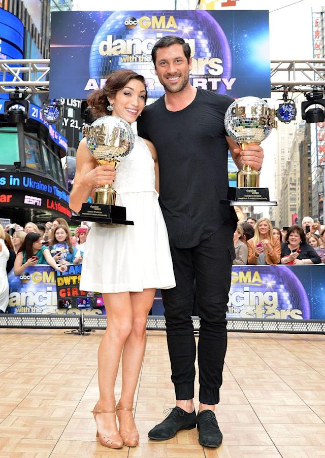 <p>Meryl Davis and Maksim Chmerkovskiy won season 18 of DWTS. The Olympic ice dancer competed against her IRL partner, Charlie White. </p>
