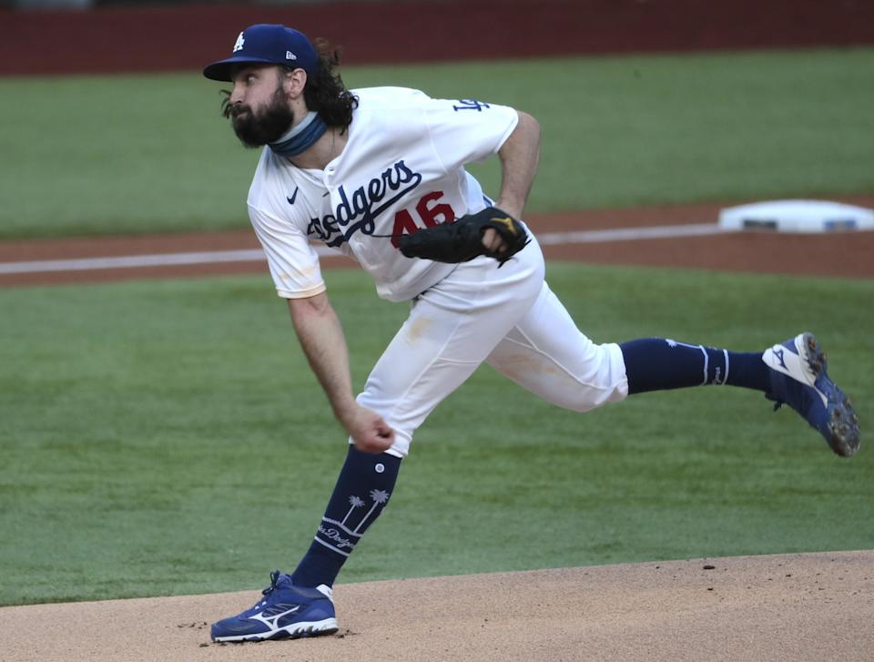 Dodgers starting pitcher Tony Gonsolin delivers against the Atlanta Braves in Game 2 of the NLCS.