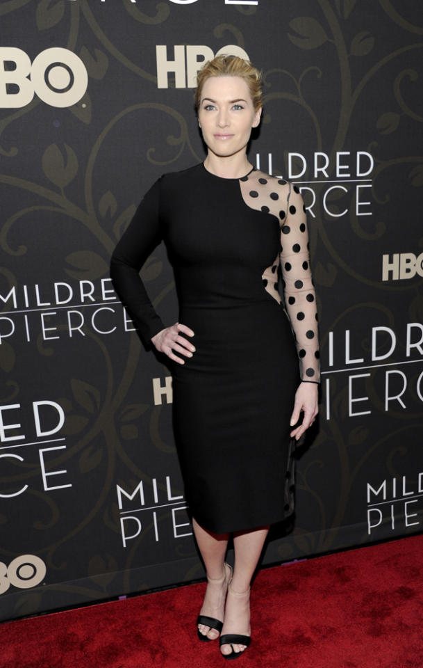 Celebrity fashion: Kate Winslet cannot get enough of her Stella McCartney optical illusion dresses. This polka dot number has become iconic.