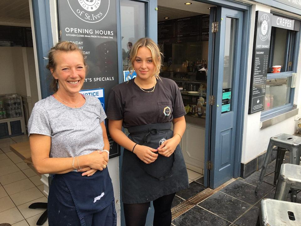 Jo Cooper and Melissa Short outside Pels of St Ives (The Independent)