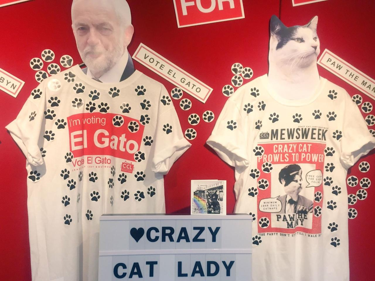 <p>For those uninformed (and clearly not <em>true</em> Corbyn fans) the Labour leader's cat is called El Gato. If you want to make sure you're supporting the full Corbyn family, make sure you pick up one of these heavily paw-printed t-shirts at the conference. (Sky News) </p>