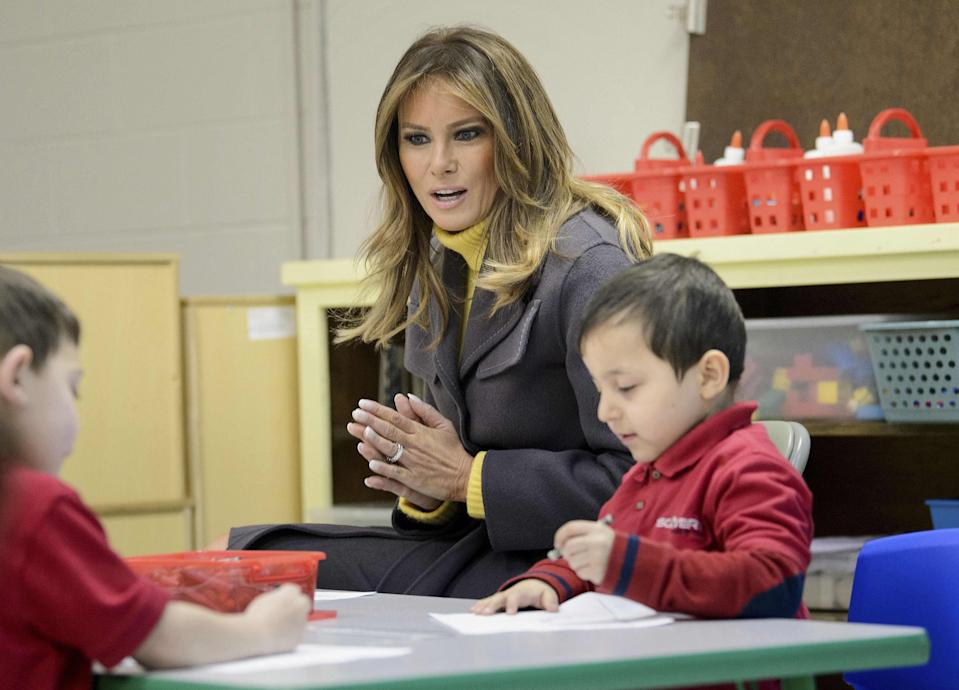 First lady Melania Trump visits a prekindergarten class at the Dove School of Discovery on March 4, 2019 in Tulsa, Oklahoma.