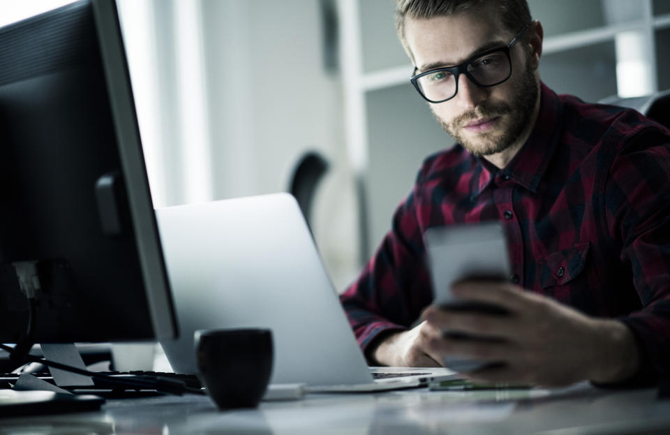 Blue-light-blocking glasses can be worn while using digital screens like computers and cellphones. (Photo: Getty Images)