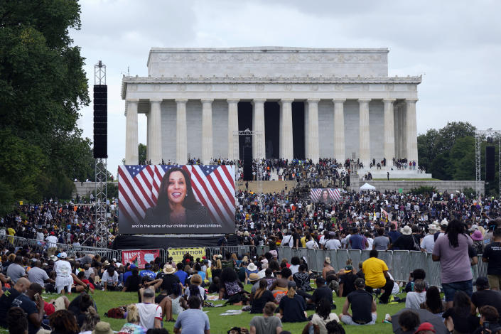 Democratic vice presidential candidate Kamala Harris addressed Friday's rally at the Lincoln Memorial via video. (Carolyn Kaster/AP)
