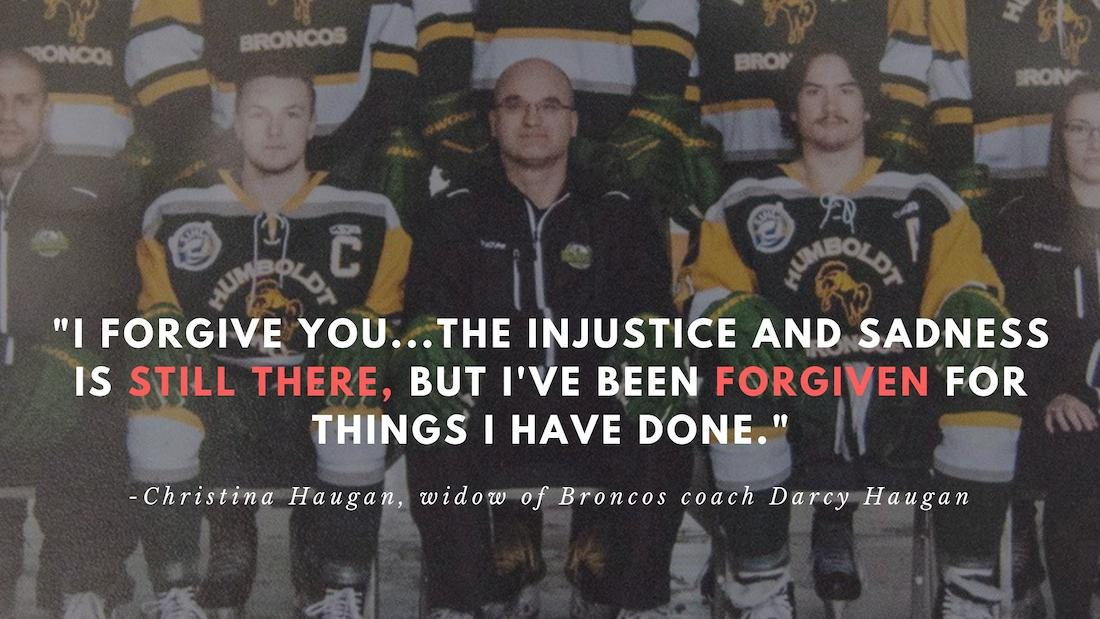 <p>Christina Haugan, widow of Broncos coach Darcy Haugan, delivers a statement to Jaskirat Singh Sidhu about her husband. <br /><br /></p>