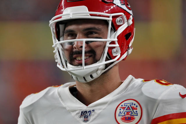 Kansas City Chiefs quarterback Matt Moore smiles during the second half of an NFL football game against the Denver Broncos, Thursday, Oct. 17, 2019, in Denver. (AP Photo/David Zalubowski)