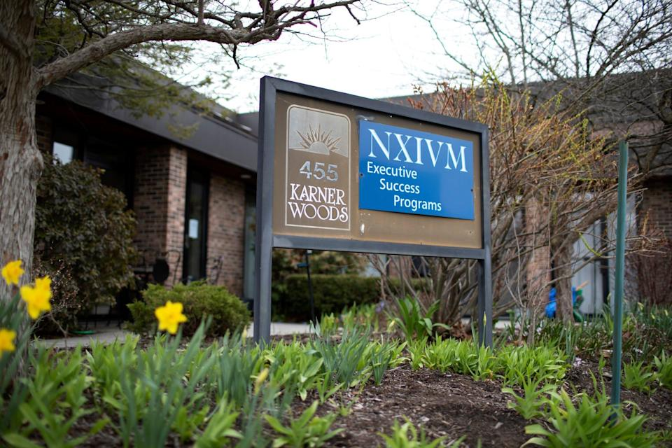 The NXIVM Executive Success Programs sign outside of the office at 455 New Karner Road on April 26, 2018 in Albany, New York.