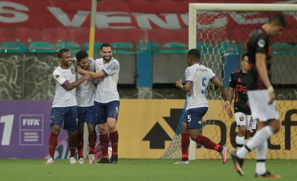 Brazil's Bahia players celebrate after scoring against Peru's Melgar during their closed-door Copa Sudamericana second round football match at the Fonte Nova Arena in Salvador, Brazil, on November 5, 2020, amid the COVID-19 novel coronavirus pandemic. (Photo by Arisson MARINHO / AFP) (Photo by ARISSON MARINHO/AFP via Getty Images)