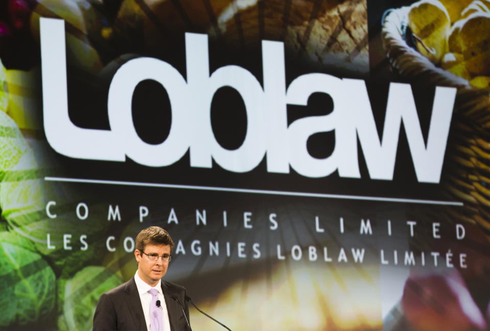 Loblaw Companies Limited Executive Chairman Galen Weston speaks during the annual general shareholders' meeting in Toronto, May 2, 2013. Canada's largest grocer and the company behind the discount clothing brand Joe Fresh, is committed to staying in Bangladesh, but will take steps to improve facilities, its top executive said on Thursday. More than 400 factory workers were killed after an illegally built building that housed a number of apparel factories collapsed in Savar, a commercial suburb of Dhaka, Bangladesh.   REUTERS/Mark Blinch (CANADA - Tags: BUSINESS TEXTILE DISASTER)