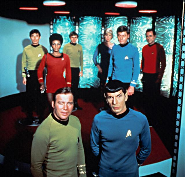 <p>For '60s-era audiences, the original Enterprise ensemble represented a veritable rainbow of color, featuring characters from different racial, cultural, and interplanetary backgrounds. At the same time, they weren't necessarily the most fashion-forward bunch. These early Starfleet suits look decidedly off-the-rack compared to some of the sleeker uniforms that followed.<br><br>(Photo: Paramount/Courtesy Everett Collection) </p>