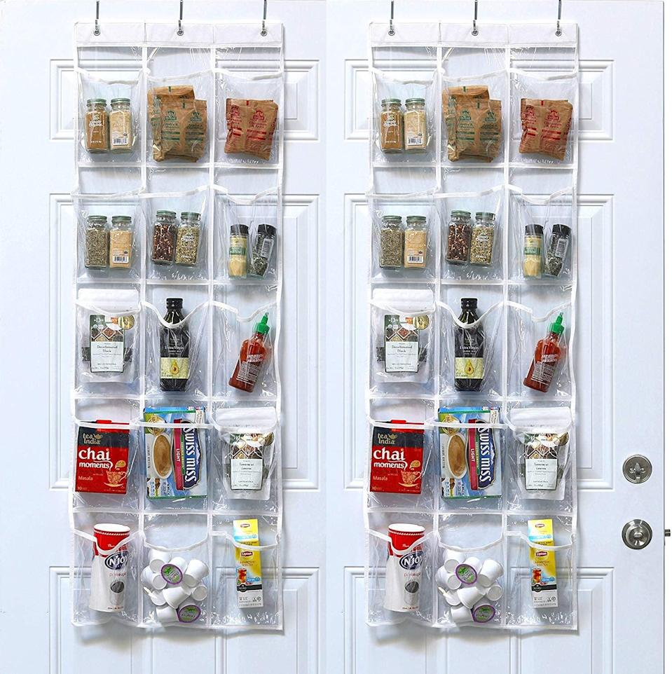 <p>These clear <span>SimpleHouseware Crystal Over The Door Hanging Pantry Organizers</span> ($15, originally $20) make it easy to see what's inside.</p>