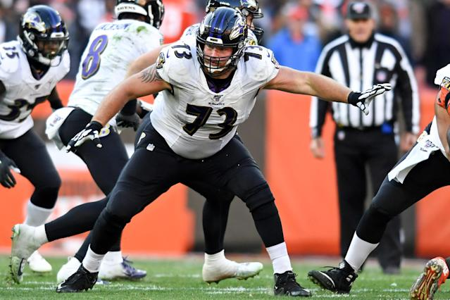 Ravens offensive lineman Marshall Yanda has dropped 60 pounds in the three months since he retired. (Nick Cammett/Diamond Images/Getty Images)