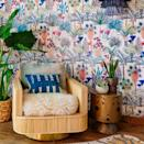 """Jungalow leads the way in all things home decor, including wallpapering. This wonderfully colorful, vivid design is one of the most unique wallpaper designs we've seen, and we're here for it. $140, Jungalow. <a href=""""https://www.jungalow.com/collections/wallpaper-1/products/phoenix-wallpaper-in-naturale-by-justina-blakeney?variant=28348549660749"""" rel=""""nofollow noopener"""" target=""""_blank"""" data-ylk=""""slk:Get it now!"""" class=""""link rapid-noclick-resp"""">Get it now!</a>"""