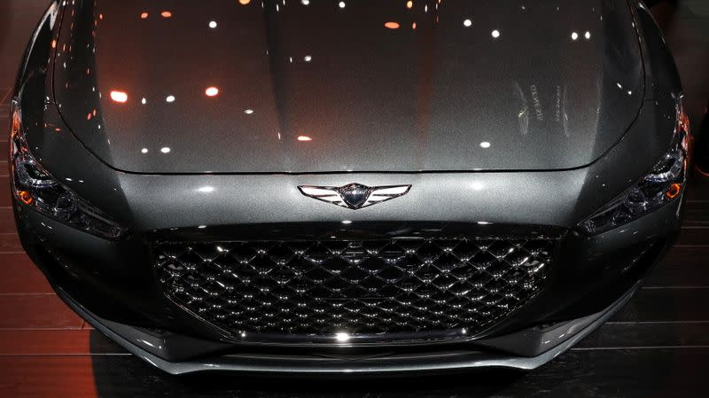 FILE PHOTO: Hyundai Genesis G70 is displayed at the North American International Auto Show in Detroit, Michigan