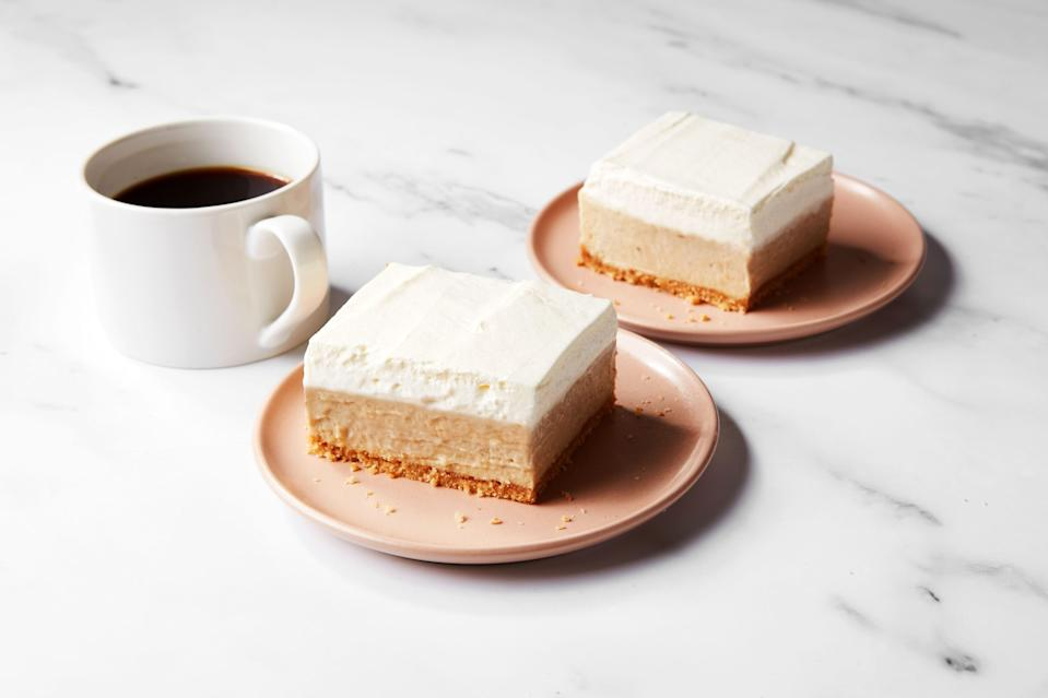 """If you love banana pudding, and you love cheesecake, you're going to adore these new banana pudding cheesecake bars from Epi contributor Tara O'Brady. Stash a batch in your fridge, and you might be surprised how quickly it disappears. <a href=""""https://www.epicurious.com/recipes/food/views/banana-pudding-cheesecake-bars?mbid=synd_yahoo_rss"""" rel=""""nofollow noopener"""" target=""""_blank"""" data-ylk=""""slk:See recipe."""" class=""""link rapid-noclick-resp"""">See recipe.</a>"""