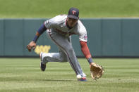 Minnesota Twins second baseman Jorge Polanco fields a ground ball by St. Louis Cardinals' Tommy Edman during the second inning of a baseball game Sunday, Aug. 1, 2021, in St. Louis. (AP Photo/Joe Puetz)