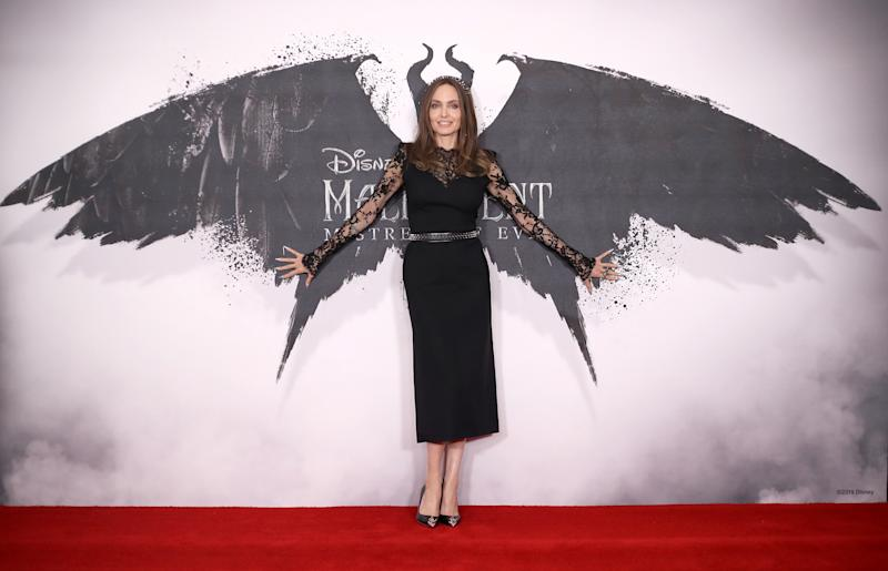 "LONDON, ENGLAND - OCTOBER 10: Angelina Jolie attends a photocall for ""Maleficent: Mistress of Evil"" at Mandarin Oriental Hotel on October 10, 2019 in London, England. (Photo by Mike Marsland/WireImage)"
