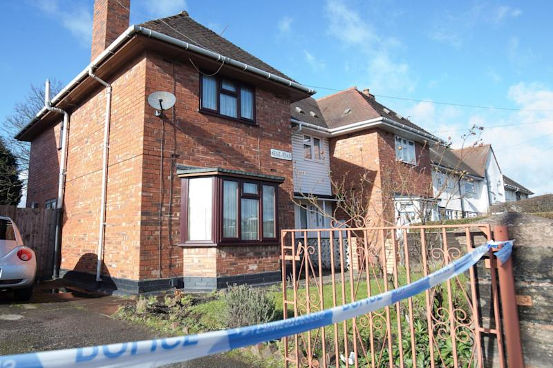 Scene: Police tape outside a property on Kent Road in Wolverhampton: PA