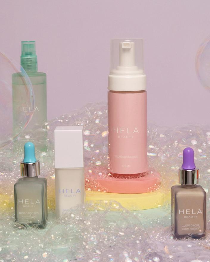 Five of the six products in the Hela Beauty range (from left: FaceMist, Hyalo Booster, Hydra Serum, Cleansing Mousse, and Glow Drops; Skin Oil not shown)