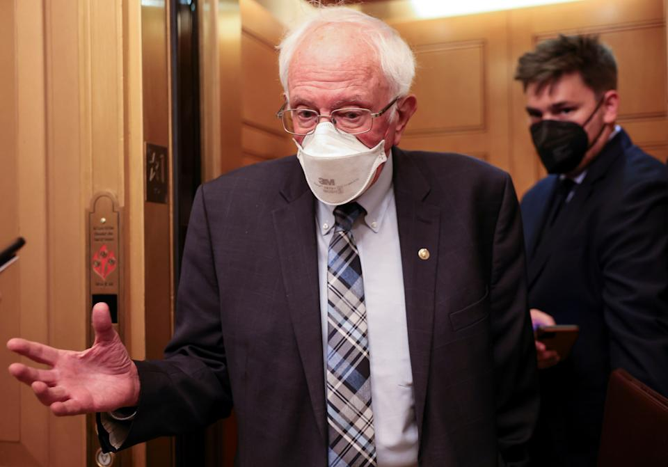 U.S. Senator Bernie Sanders (I-VT) steps off an elevator as he arrives prior to the weekly Senate Democratic policy lunch at the U.S. Capitol in Washington on September 14, 2021. (Evelyn Hockstein/Reuters)