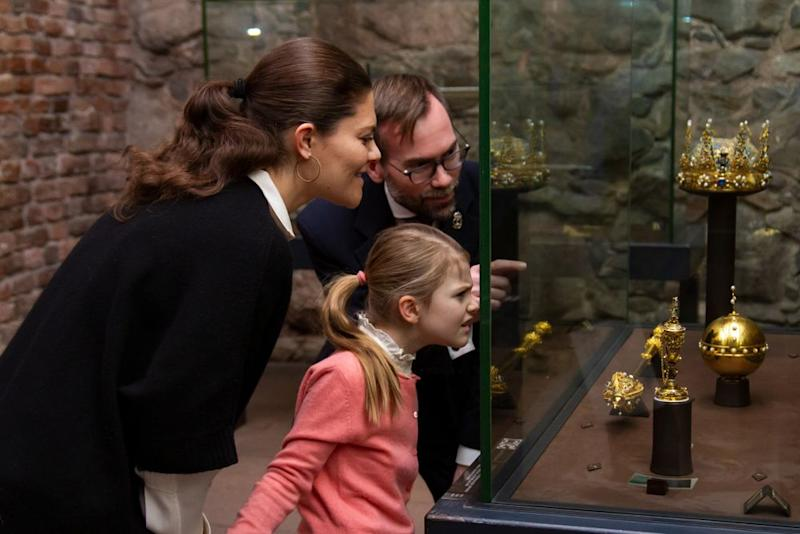 Sweden's Princess Estelle Views Crowns with Princess Victoria